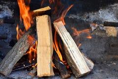 płonący drewna Fotografia Royalty Free