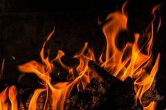 Płonący drewna z płomieniami obrazy stock