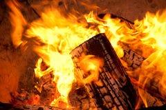 płonący drewno Fotografia Stock