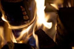 Płonący drewno w Czarnym lesie Zdjęcie Stock