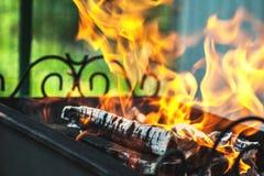 Płonący drewno w metalu grillu z dymem diagonally i embers na jaskrawym - zielony tło, horyzontalna rama Obraz Stock