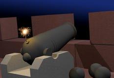 płonący działa fortecy lont Zdjęcie Stock