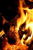 Płonący firewod w grabie Zdjęcie Stock