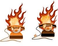 płonący gorącej linii o telefon. Zdjęcia Stock