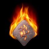 Płonący kamień z magicznym rune Obrazy Stock