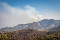 Płonący las nad wzgórze z popiół chmurą fotografia royalty free
