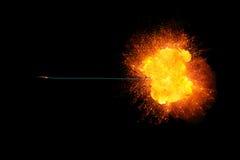 Płonący lont z realisic ognistym wybuchem przy końcówką Fotografia Royalty Free