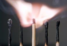 płonący mecz Obrazy Stock