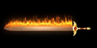 płonący pożarniczy kordzik Zdjęcie Stock