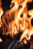 Płonący pożarniczy płomień zdjęcia stock