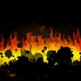 płonący pożarniczy płomienie ilustracji
