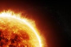 Płonący słońce na astronautycznym czarnym tle Obrazy Royalty Free