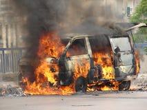 płonący samochód Obraz Royalty Free