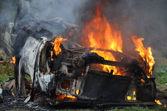 Płonący samochód Fotografia Royalty Free