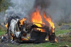 Płonący samochód Obraz Stock