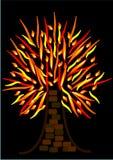płonący spalania drzewo Zdjęcia Royalty Free