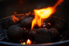 płonący węgiel drzewny Zdjęcia Stock