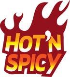 płonie gorącego ikony loga n czerwonego korzennego tekst Obrazy Royalty Free