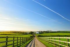 Płotowy kasting ocienia na drodze prowadzi mały dom między scenicznymi Kornwalijskimi polami pod niebieskim niebem, Cornwall, Ang Zdjęcia Stock