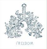 Płuca z kwiatami ilustracyjnymi dla karty plakata lub, wolności pojęcie Obrazy Royalty Free