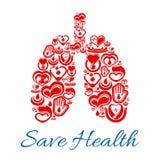 Płuco symbol wektorowe kierowe i krwionośne medycyny ilustracji