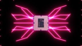 Płynnie zapętlać wideo futurystyczna obwód deska z chodzenie menchii elektronami z jednostką centralną ilustracji