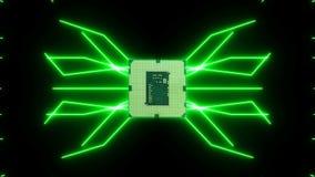 Płynnie zapętlać wideo futurystyczna obwód deska z chodzenie zieleni elektronami z jednostką centralną ilustracja wektor