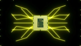 Płynnie zapętlać wideo futurystyczna obwód deska z poruszającymi żółtymi elektronami z jednostką centralną ilustracji