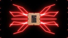 Płynnie zapętlać wideo futurystyczna obwód deska z poruszającymi czerwonymi elektronami z jednostką centralną royalty ilustracja