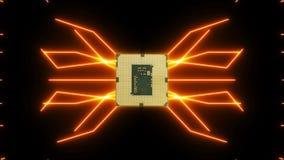 Płynnie zapętlać wideo futurystyczna obwód deska z poruszającymi pomarańczowymi elektronami z jednostką centralną ilustracja wektor