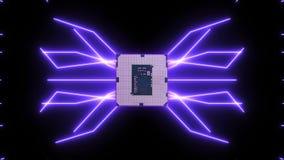 Płynnie zapętlać wideo futurystyczna obwód deska z poruszającymi purpurowymi elektronami z jednostką centralną ilustracji