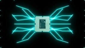 Płynnie zapętlać wideo futurystyczna obwód deska z poruszającymi turkusowymi elektronami z jednostką centralną royalty ilustracja