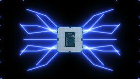 Płynnie zapętlający wideo futurystyczna obwód deska z ruszać się błękitnych elektrony z jednostką centralną royalty ilustracja