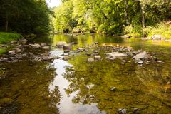 Płytka rzeka otaczająca luksusowym ulistnieniem w appalachians fotografia royalty free