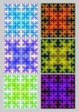 Płytka set z kwadratowymi wzorami w fractal stylu Sierpinski dywanie Tekstylny sampler w różnych kolorów wariantach Różnobarwny o ilustracji
