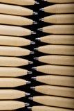 Płytki ostrość widok zakończenie wizerunek nowi pióro ołówki widzieć na ciemnego czerni tle Egzamin próbny Up Fotografia Royalty Free