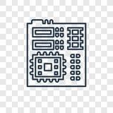 Płyty głównej pojęcia wektorowa liniowa ikona na przejrzysty b royalty ilustracja