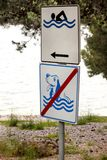 Pływać Pozwalać znaka Żadny pies pozwolić znak na morze plaży Żadny psi zwierzęta domowe i znak Niedozwolony symbol pozwolić znak Obraz Royalty Free