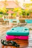 Pływać Wsiada i Googles Fotografia Royalty Free