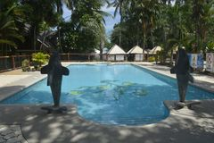 Pływacki basen lokalizować przy San Vali, Digos miasto, Davao Del Sura, Filipiny obraz stock