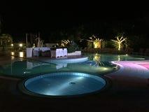 Pływacki basen nocą Obrazy Royalty Free