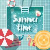 Pływacki basen, odgórny widok, lato czasu wakacje wakacje, jasny woda z parasols ilustracji