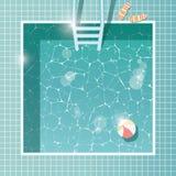 Pływacki basen, odgórny widok, wakacje letni wakacje, jasny woda ilustracji