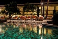 Pływacki basen przy nocą Obraz Royalty Free