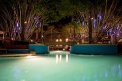 Pływacki basen przy nocą Obrazy Royalty Free