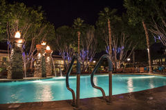 Pływacki basen przy nocą Zdjęcie Royalty Free