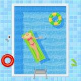 Pływacki basen Z kobietą Odgórny widok Zdjęcie Stock