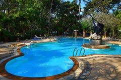 Pływacki polityk, tropikalne rośliny w ziemiach hotel, plaża i drzewa, Phra Ae plaża, Ko Lanta, Tajlandia Obrazy Royalty Free