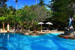 Pływacki polityk, tropikalne rośliny w ziemiach hotel, plaża i drzewa, Phra Ae plaża, Ko Lanta, Tajlandia Obrazy Stock