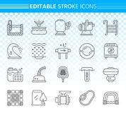Pływackiego basenu wyposażenia czerni linii ikon wektoru prosty set ilustracji